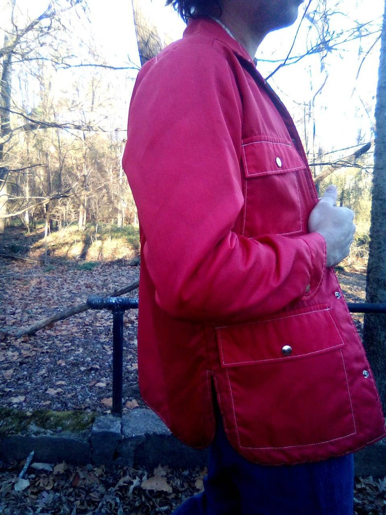 Walls Blizzard-Pruf  Insolated Snap Up Coat with Front Snap Pockets 1980/'s Fire Red