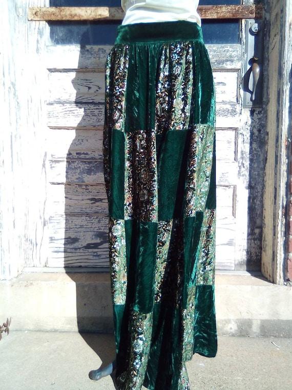 Crushed Velvet Patchwork Handmade Skirt/Late 1980'