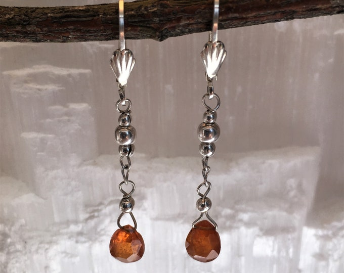 Earrings in natural mandarin garnets and sterling silver .925 (S2)
