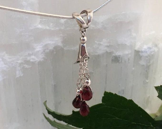 Garnet briolette pendant and sterling silver .925