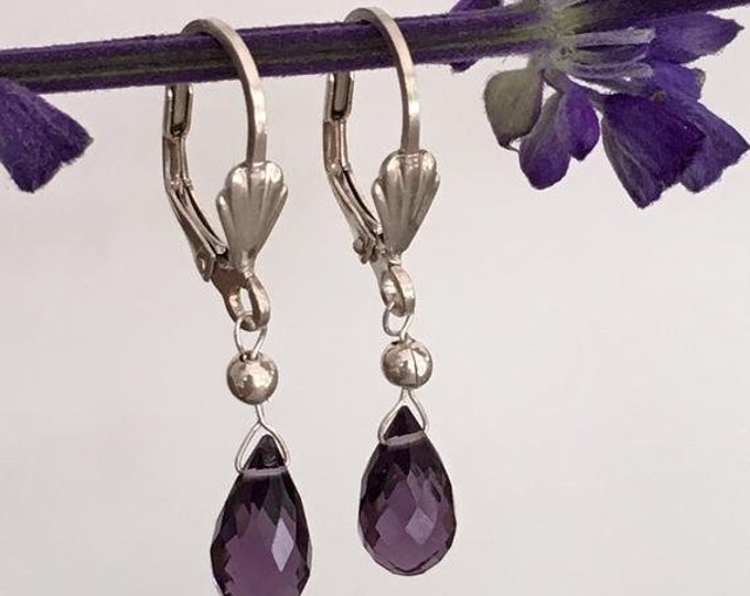 AAA quartz amethyst and sterling silver earrings .925