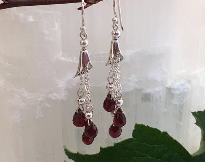 Earrings in almandine garnet briolettes and sterling silver .925