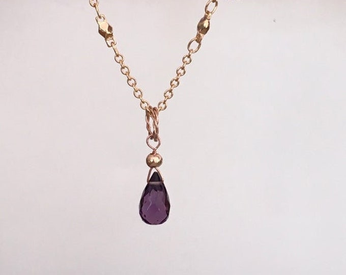 AAA quartz amethyst briolet pendant and filled gold.