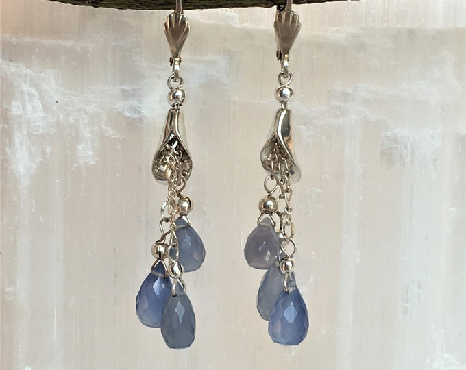 Sterling blue calcedoine and silver earrings .925