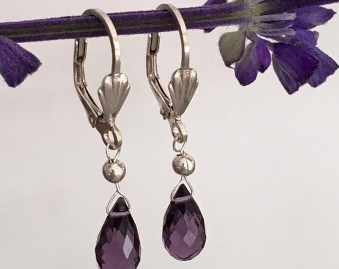 AAA quartz amethyst and sterling silver earrings.925.