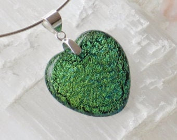 Sterling glass and silver pendant .925 Dichroic glass heart P24