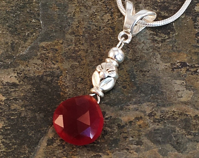 Pendant in red carnelian and sterling silver .925 s13