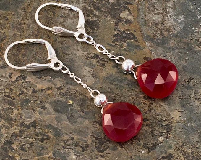 Earrings made of red carnelian stones. S14