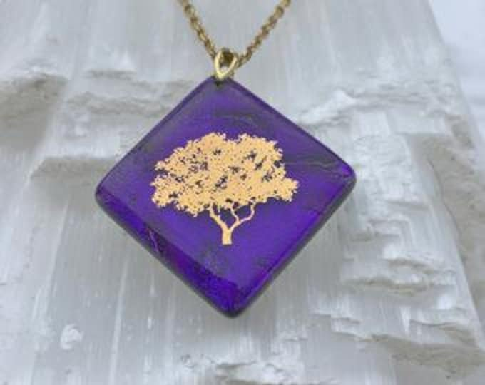 Dichroic glass pendant and 22 carat gold fusion