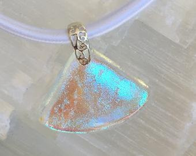 Dichroic glass pendant and sterling silver .925 fan pattern