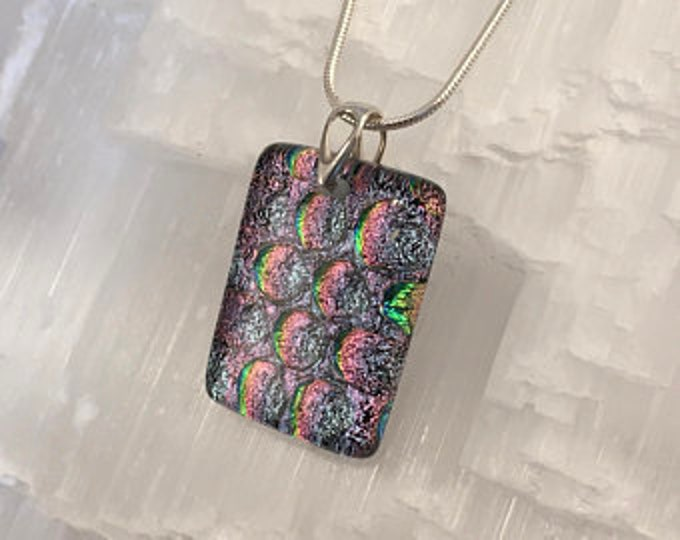 Dichroic glass pendant and sterling silver .925 rectangle shape