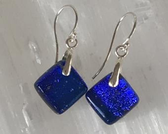 Earrings in dichroic glass and sterling silver .925
