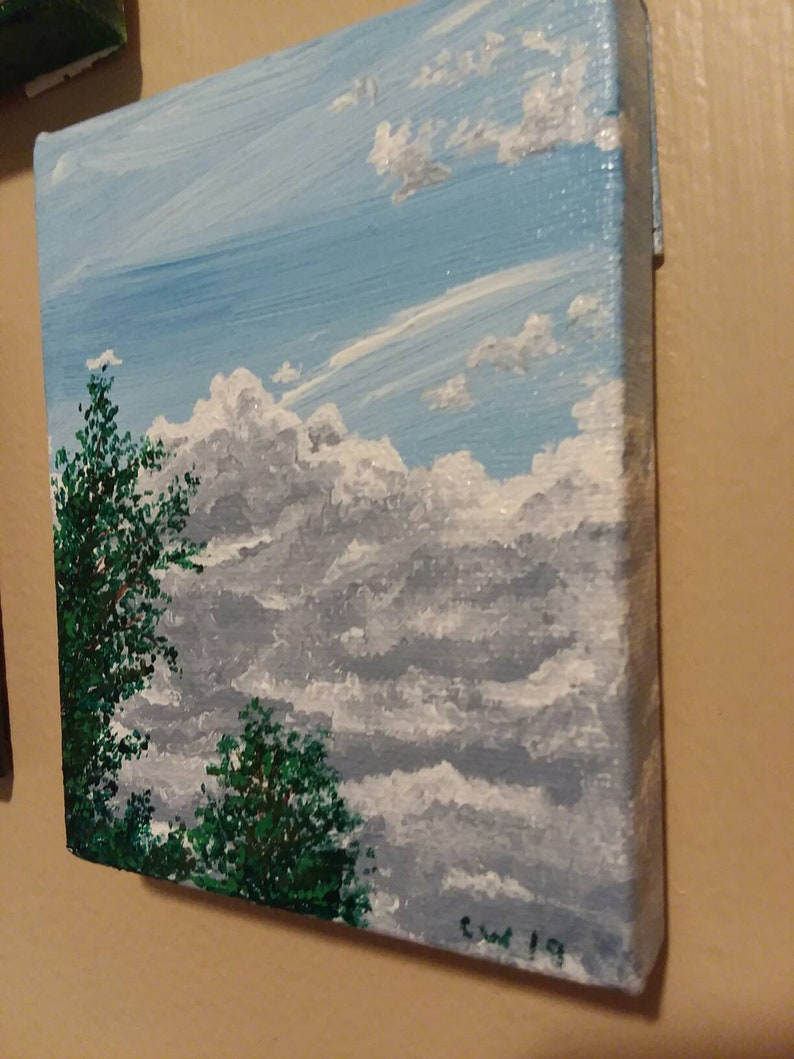 Cloud Study acrylic painting on 4x5 inch canvas