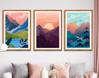 Set of 3 Abstract Landscape Framed Canvas Wall Print / Framed Wall Art /  Sunrise Wall Print / Living Room Wall Decor / Housewarming Gift