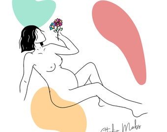 Pregnant woman with Flower Line Art