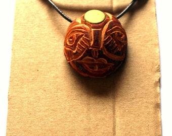 Buddha nature Third eye awakening Avocado stone carving macrame necklace