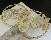 Personalized Name Bamboo Earring Bamboo Earring Name Personalized Jewelry For Gift Gold Hoop Earring Childrens Earrings
