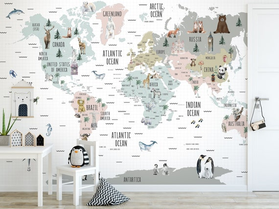 Kids Map Wallpaper World Famous Icons  Animals Wall Mural Self Adhesive Removable Nursery Kids Room