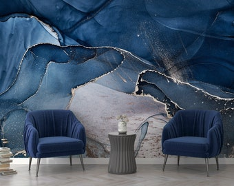 Dark Blue Marble Wallpaper- Removable Marble Texture- Modern Look- Peel and Stick- Self Adhesive- Wall Decor