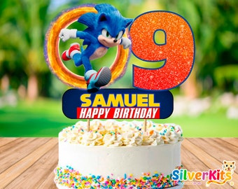 Sonic The Hedgehog Cake Topper Personalised Kids Party Decoration Image Cut Card