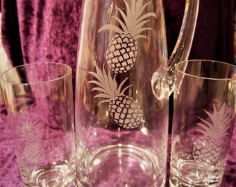 """3pcs glass set """"Pineapple"""": Jug & 2 glasses with hand engraving"""