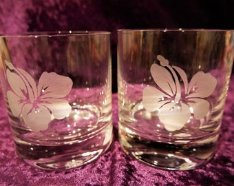 Juice/Water Glasses with Hawaii Flower Hand Engraved