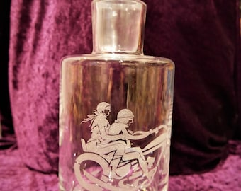 """Whisky carafe with motif """"motorcycle"""" hand-engraved"""