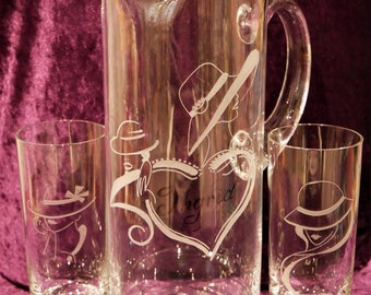 3pcs glass set: Jug & 2 glasses with hand engraving