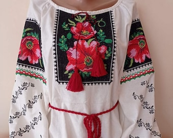 Ukranian ethnic pattern Batiste embroidered blouse Poppy flowers traditional multycolour satin stich embroidery summer vyshyvanka