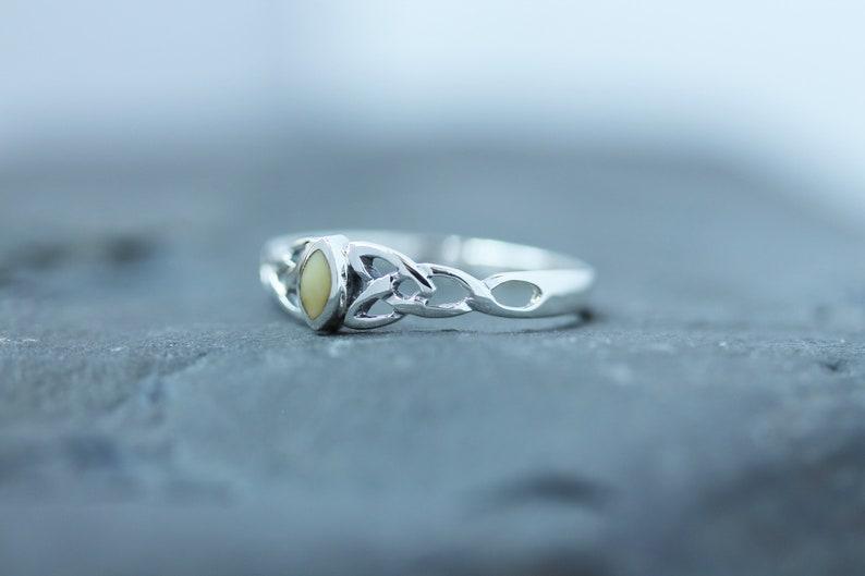 Scottish Marble Ring Diamond Triquetra