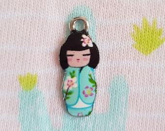 Geisha glazed pendant, kokeshi doll enamel, geisha doll charms