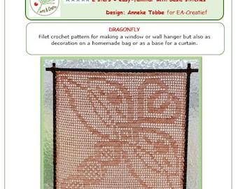Crochet pattern Dragonfly Filet in English