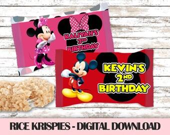 Minnie Mouse 3rd Birthday Rice Krispies Treats-Rice Krispies Treats-1st Birthday-Minnie Mouse Red-Rice Krispies Wrappers-Kids Birthday