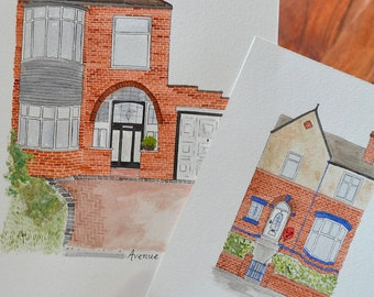 Personalised House Portrait   Made To Order   A6   A5   A4 Watercolour House Portrait
