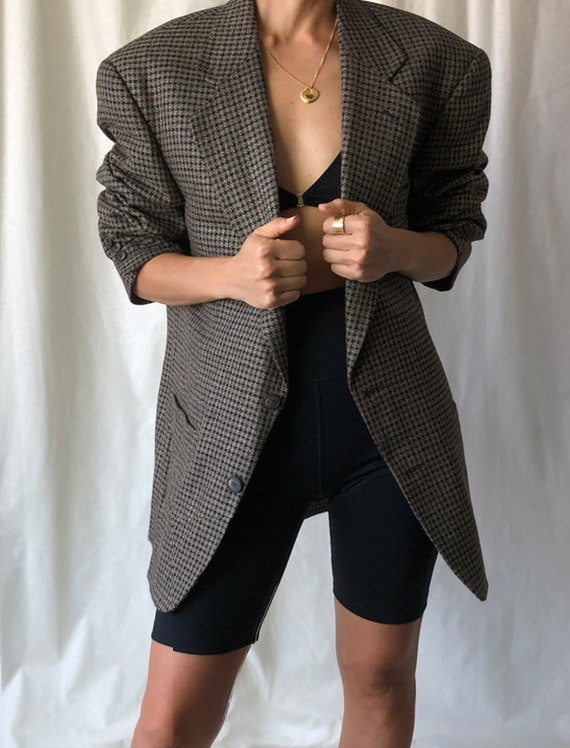 Grey Houndstooth Vintage Oversized Wool Blazer