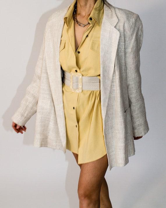 Vintage Linen Tweed Blazer in Ivory and Beige