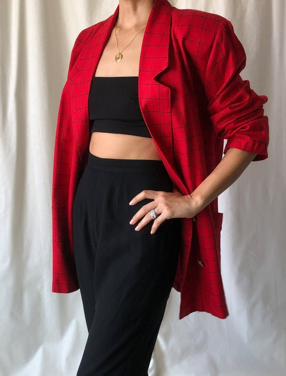 Red Vintage Double Breasted Oversized Plaid Blazer