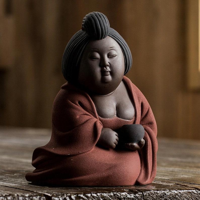 FAT beauty Pottery Purple clay pot ceramic tea play tea funny clay pottery  Tang maid maidservant maid  Ancient pottery