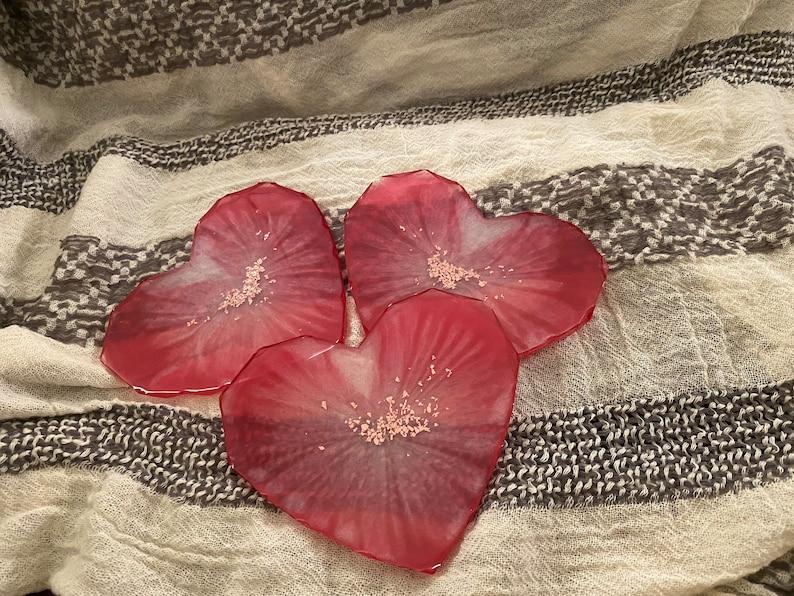 Set of 3 heart shaped geometric coasters