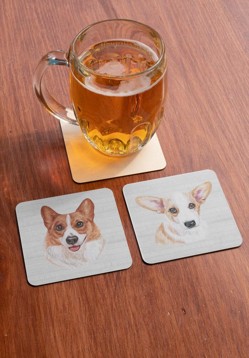 Dog Groomer Gift Corgi Coasters Dog Theme Coasters Corgi Lover Gift Polyester Top Coasters Dog Lover Gift