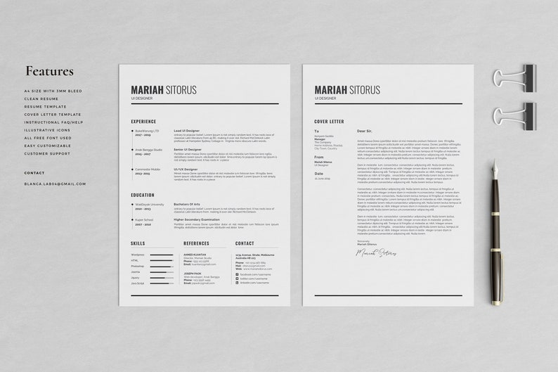 Resume Template 2 Pages CV Resume With Photo Modern Resume Professional Resume Template Sitorus Graphic CV Template Microsoft Word