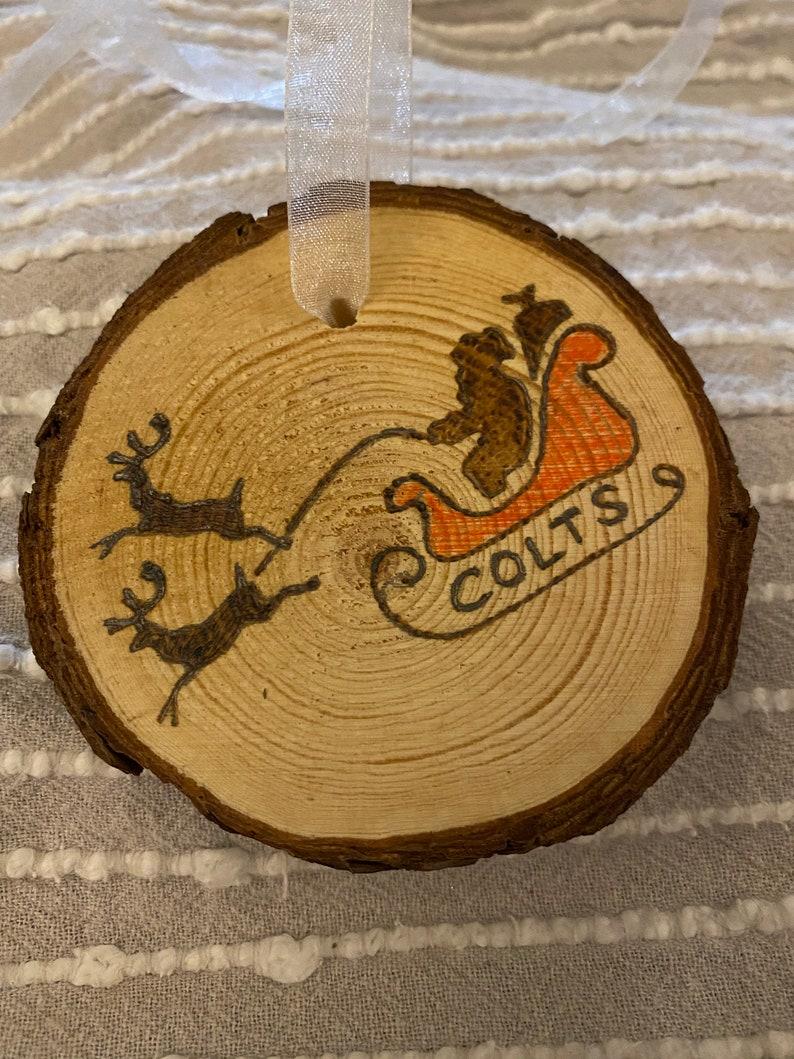 Indianapolis Colts Christmas ornament handmade decoration rustic wood-burn decoration sports memorabilia Colts gift