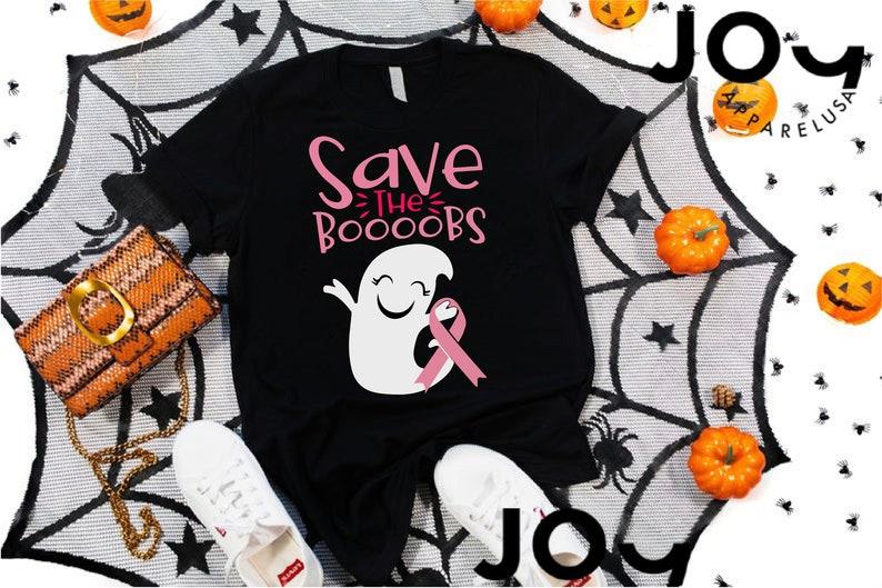 Breast Cancer Awareness Halloween Tee, Cute Ghost Shirt, Masswerks Store
