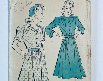 """New York Pattern 1572 •Bust 34"""" • Vintage 1940s Sewing Pattern • 40s Sewing Pattern • Button Front Shirtdress Shirt Dress Sewing Pattern"""
