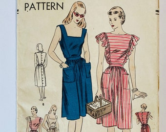 """Vogue 5620 •Bust 30"""" • RARE Vintage 1940s Sewing Pattern • 1945 40s Sewing Pattern Ruffle Sleeve Pinafore Cottagecore Dress Sewing Pattern"""