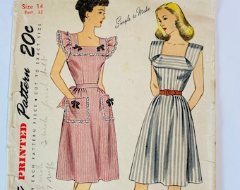 """Simplicity 1663 •Bust 32"""" B32 • RARE Vintage 1940s Sewing Pattern • 1944 40s Sewing Pattern • Square Neck Cottagecore Dress Sewing Pattern"""