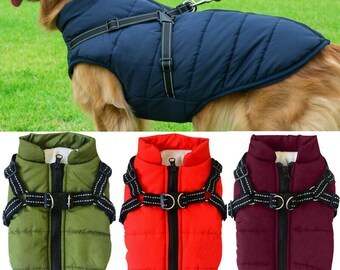 Pet Padded Warm Vest Dog Winter Jacket Waterproof Reflective Cold Weather Coats