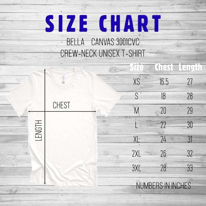 Bella Canvas Size Chart Unisex Tee 3001CVC Unisex Short Sleeve Tshirt size chart Flat Lay Mockup Tee Size Chart Mens Tshirt size chart