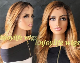 natural looking H.D Amber fire dark root balayage color wavy lace front wig