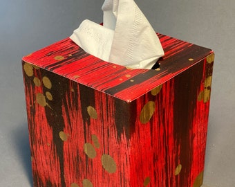 Handmade Tissue Box Cover with unique paper. Made To Order